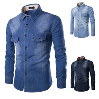 PLUS Fashion Mens Dark Wash Denim Shirt Long Sleeves Collar Casual Slim Fit Top