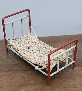 Antique Vintage  Dollhouse Metal Bed & Mattress Painted Miniature Furniture