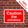 Caution site entrance Health and safety signs CONS055 durable and weatherproof