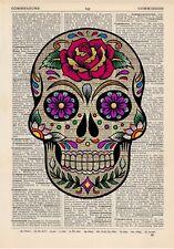 Sugar Skull 5 Dictionary Art Print Vintage Day of the Dead Alternative Muertos