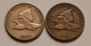 1857 & 1858 small letters Flying Eagle Cents FULL DETAIL
