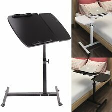 OVER Bed Table Laptop Hospital with Swivel Wheels and ADJUSTABLE Tabletop BLACK