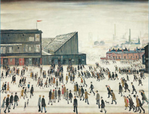 LS LOWRY GOING TO THE MATCH WALL HANGING COVER ART DECO 30x20 Inch Canvas Framed