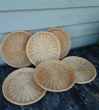 "Set of 6 Vintage Wicker Bamboo Woven 9"" Picnic Party Plate Holders"
