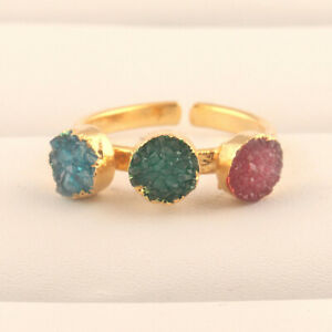 Round Natural Sky Blue Green Red Sugar Druzy Gold Plated Adjustable Ring Jewelry