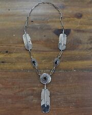 Vintage Sterling Silver and Black Onyx Feather Necklace