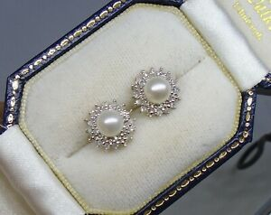9ct gold Diamond and pearl earrings