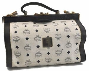 Authentic MCM Leather Vintage Hand Bag White B9147