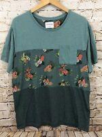On the Byas shirt mens XL top short slv floral watermelon popsicle pocket S1