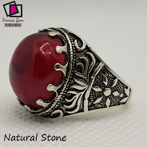 Pink Ruby Ring 925 Sterling Silver Men's Agate Stone Natural Handmade free ياقوت