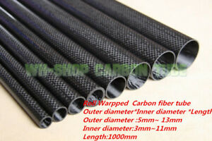 OD5 6 7 8 9 10 11 12 13mm 3K Carbon Fiber Tube/Pipe Roll Wrapped Polex 1000mm