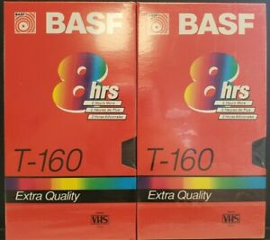 BASF - T-160 8 HOUR RECORDING VHS TAPE MINT SEALED (2 COPIES)
