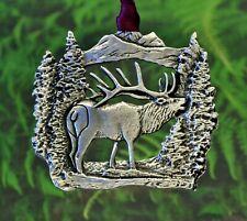 Elk Christmas Ornament | Bugling Elk Christmas Decorations in Fine Pewter