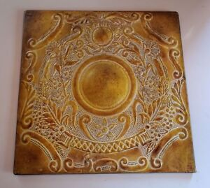 Yellow Metal Wall Plaque Home Decor Floral Design Motif White Accents