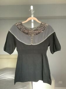 Anthropologie Lia Molly short sleeve Black cotton sweater top s