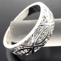 Ring Real 925 Sterling Silver SF Solid Diamond Simulated Engraved Antique Design