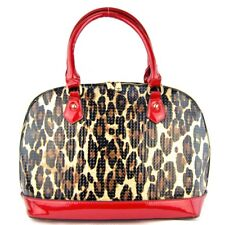 Leopard Print Faux Leather Handbag - 2424