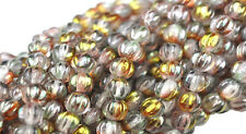 50 PINK GOLD LUSTER CZECH GLASS ROUND MELON BEADS 5MM