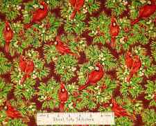 Quilting Treasures Holiday Dazzle Cardinal Bird Christmas Cotton Fabric Yard BTY