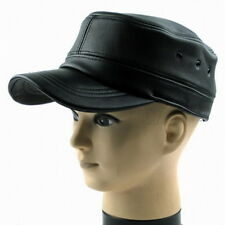 New Mens Genuine Leather  Military Cap Adjustable Casual Warm Flat Hat Black