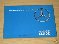 Manual de instrucciones Handbuch Mercedes Benz Aleta trasera W 111 Tipo 220 SE,