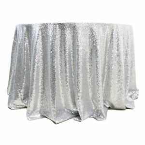 """5 Sequin 132"""" Round Tablecloths 4 Colors Wedding Overlay Table Made in USA"""