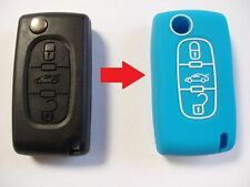 Blue silicon key case cover for Citroen C3 C4 C5 C8 3 button remote flip key