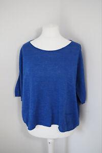 Eileen Fisher Cobalt Blue Jumper Size Large Linen Cotton Blend Boxy Short Sleeve