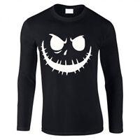 Mens New Halloween Scary Pumpkin Face white print Long sleeve black Top/t-shirt
