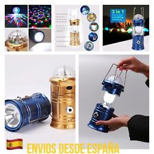 Farol Solar Camping Con Luz Giratoria Discoteca Y USB Recargable 3 En 1 Solar