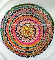"36"" Indian Handmade Round Floor Mat Rug Rag Reversible Shabby Door Mat Rug Decor"