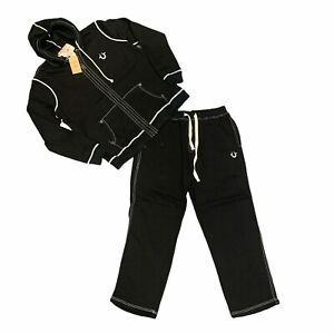 True Religion Tracksuit Size 3XL Black Full Zip Hoodie & Drawstring Pant Set New