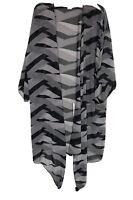 Vintage JEAN TOWNSEND Kimono Cover Coat Black White Geometric Size Medium 12