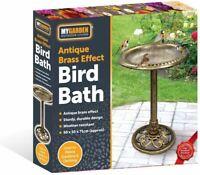 GARDEN BIRD BATH ANTIQUE BRASS EFFECT LARGE BIRTH BATH BOWL WATER FEATURE