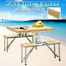 Folding Picnic Table Bench Seat Outdoor Portable Camping w/ 4 Seats US Stock