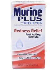 Murine Plus Eye Drops Redness Relief For Dry Eyes New Sealed Exp: 04-2020