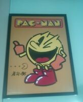 Póster PAC-MAN firmado por Toru Iwatani firma
