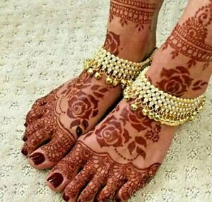 Gold Plated Bridal Feet Anklet for Women Traditional Payal/Pajeb for Indian wear