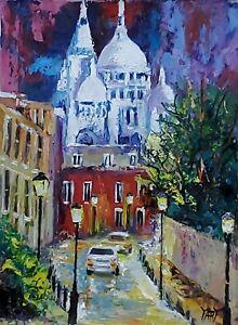 YARY DLUHOS ORIGINAL ART OIL PAINTING Montmartre Street Paris France Sacre Coeur