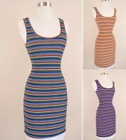 Soft Ribbed Knit Multicolor Stripe Bodycon Mini Dress Casual Stretch Sleeveless