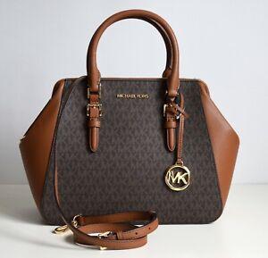 MICHAEL KORS Damen Tasche Bag CHARLOTTE LG SATCHEL PVC/Leder braun Neu