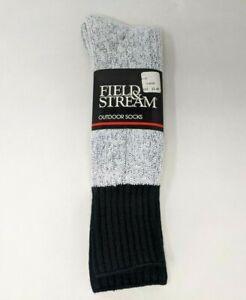 New Field & Stream Outdoor Socks Gray Orlon Acrylic Nylon Size 10-13 Mens TT20