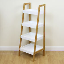 4 Tier Freestanding White & Bamboo Wood Modern Storage Shelves Home/Bathroom