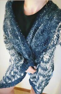 SEASON Women Acrylic Medium Knit Cardigan Sparkly Jumper Retro Style One Size