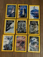 Set of 9 National Geographic Magazines- Space, Shuttle, Apollo, Moon, Astronauts
