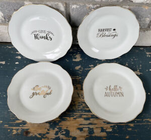 4 PIER ONE Thanksgiving HORS D'OEUVRES APPETIZER CANAPE PLATE GOLD ACCENTS
