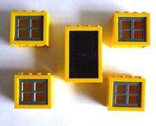 4 x LEGO® 4132 Fenster&1Tür gelb,grau,schwarz wie auf dem Foto gebraucht.