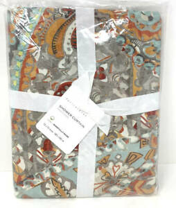 New~Pottery Barn Paloma Paisley Organic Shower Curtain