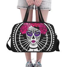 Custom Duffle Overnight Bag Girl with Sugar Skull Makeup Weekender Travel Bag
