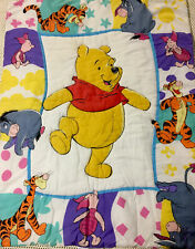 Vtg Winnie the Pooh 1995 Disney Baby Comforter Blanket Piglet Eeyore Reversible
